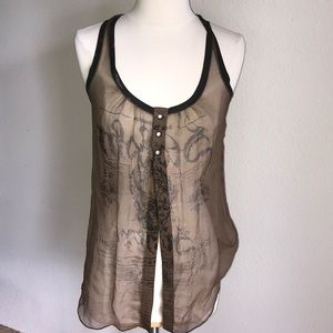 Salvage XS silk tunic tank open front worn once